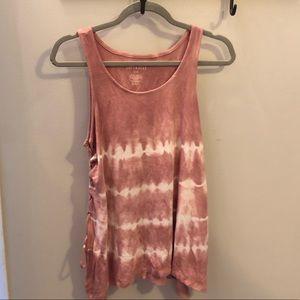 AE Soft & Sexy rib pink tie dye tank w/ tie sides